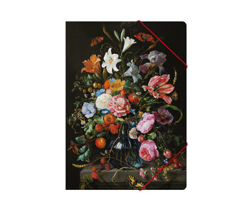 Paper file folder with elastic closure,A4, De Heem, Flower Still Life