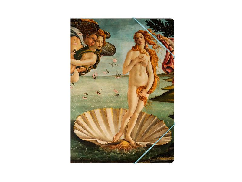 Paper file folder with elastic closure,  Birth of  Venus