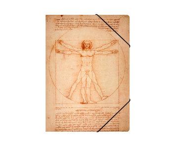 Paper file folder with elastic closure,A4, Da Vinci, Vitruvian Man