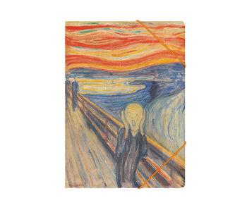 Chemise à dossier en papier avec fermeture élastique, A4, Munch, Le cri