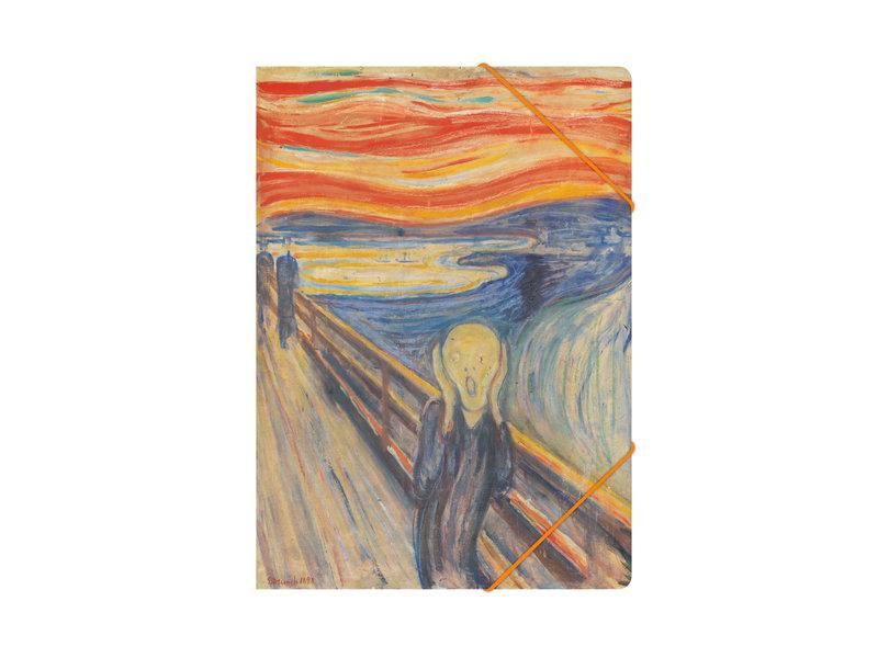 Paper file folder with elastic closure, Munch, The scream