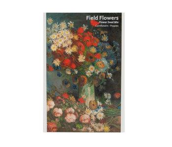 Postal con semillas, Florero con flores, Van Gogh