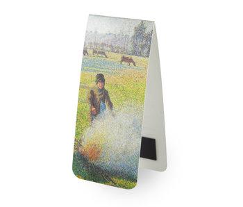 Marque-page magnétique, Camille Pissarro, Paysanne faisant un feu