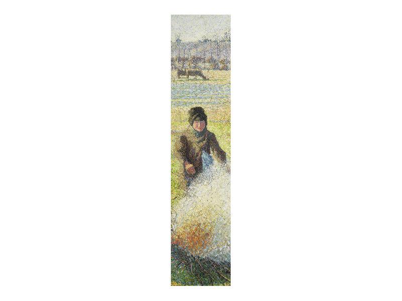 Klassisches Lesezeichen,   Camille Pissarro, Bäuernin macht  Feuer
