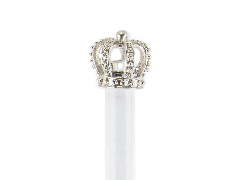 Stylo blanc avec couronne en argent