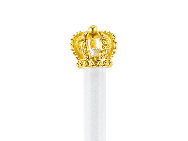Bolígrafo blanco con corona dorada