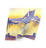 Brillendoekje,  18x18 cm, Signac, De haven bij zonsondergang