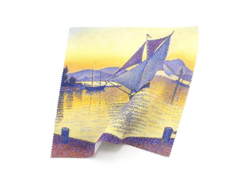 Paño de limpieza para gafas, 18x18 cm, Signac: El puerto al atardecer