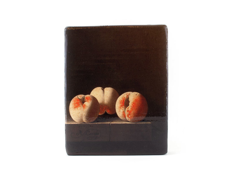 Masters-on-wood, Adriaen Coorte, Three Peaches on a Stone Plinth, 240x195 mm