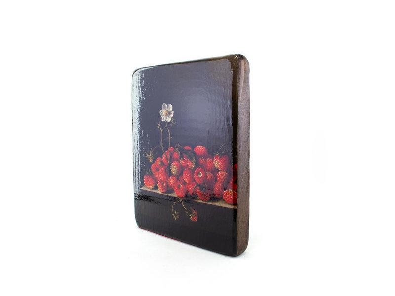 Meister auf Holz, Coorte, Erdbeeren mit Blume, 240 x 195 mm