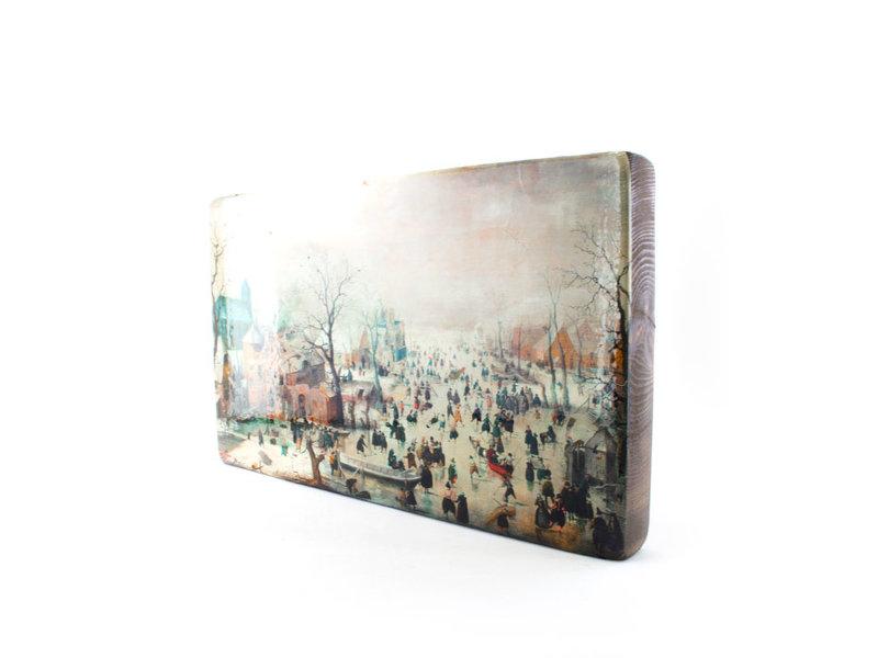 Maîtres sur bois, Paysage d'hiver, Avercamp, 330 x 195mm