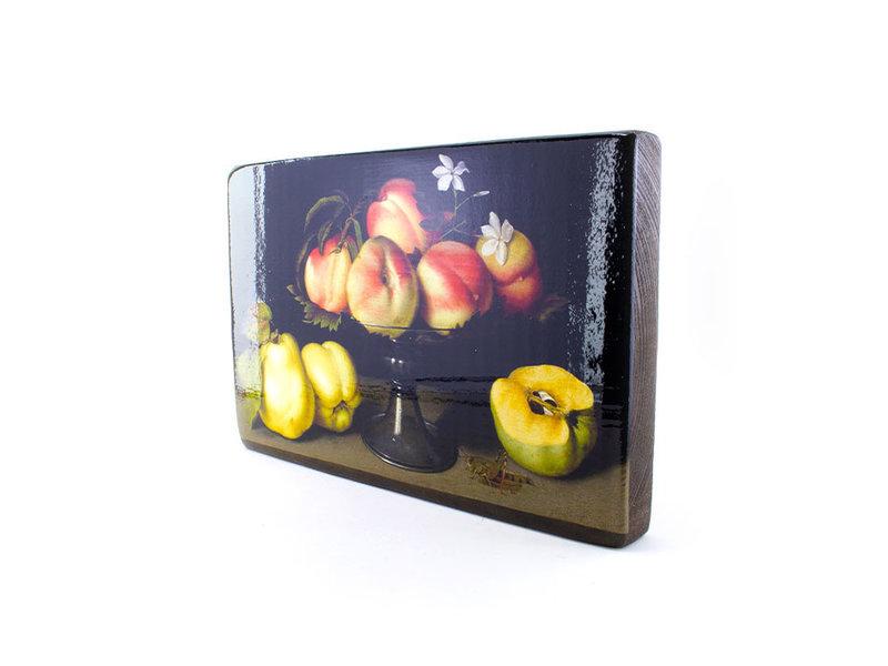 Meister auf Holz, Stillleben von Pfirsichen und Quitten, 300 x 195mm