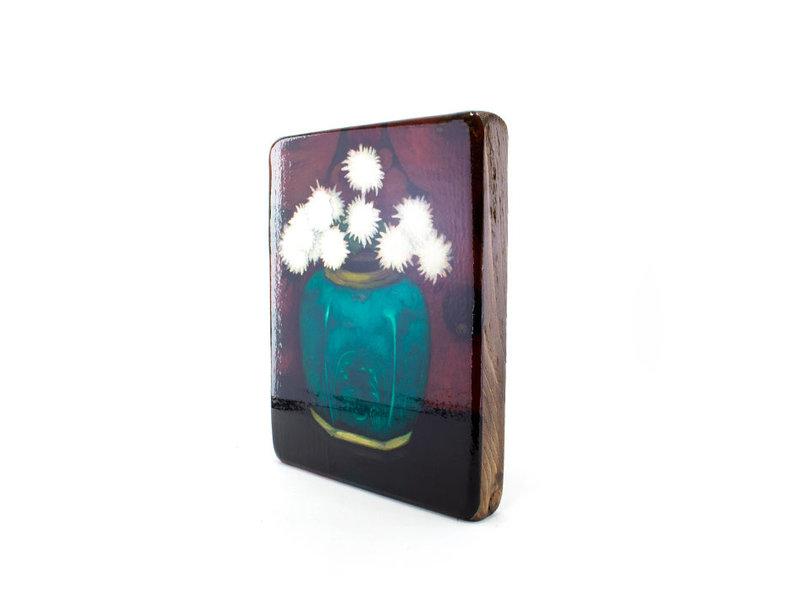 Meister-auf-Holz, Mankes, Chrysanthemen im Ingwerglas, 240 x 195 mm