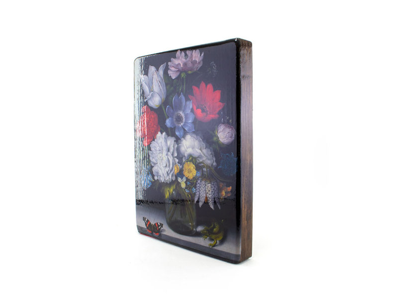 Maîtres-sur-bois, Nature morte aux fleurs avec papillon, Bosschaert, 260 x 195mm