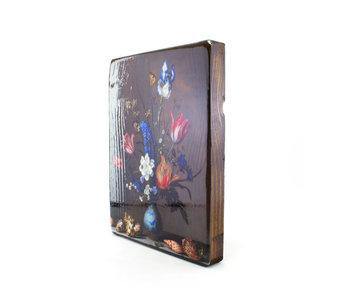 Masters-on-wood, Jarrón azul de Delft con flores y conchas, B. vd  Ast