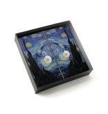 Verzilverde oorbellen met glinsterende kristal steentjes, Van Gogh, Sterrennacht