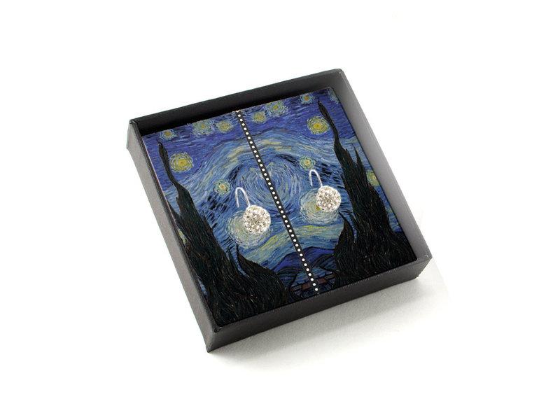 Versilberte Ohrringe mit glitzernden Kristallsteinen, Van Gogh, Sternennacht