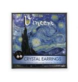 Boucles d'oreilles avec pierres de cristal scintillantes, Van Gogh, nuit étoilée