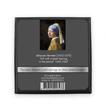Silver plated earrings with glittering crystal stones, Girl with a Pearl Earring, Vermeer