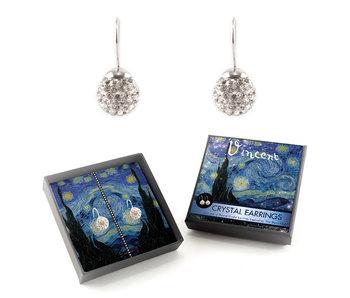 Pendientes bañados en plata con brillantes piedras de cristal, Van Gogh, noche estrellada