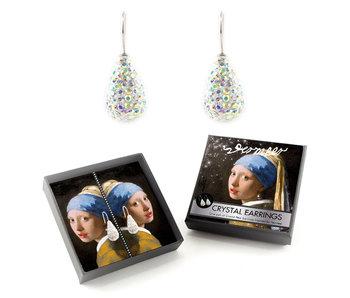 Verzilverde oorbellen met glinsterende kristal steentjes, Meisje met de parel, Vermeer