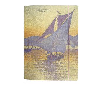 Carpeta portadocumentos con banda elástica,  Signac: El puerto al atardecer