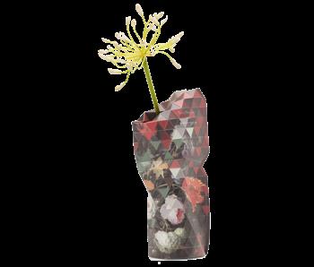 Papiervase, Stillleben mit Blumen und einer Uhr, A. Mignon
