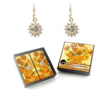 Gold plated earrings with glittering crystal stones, Van Gogh, Sunflowers