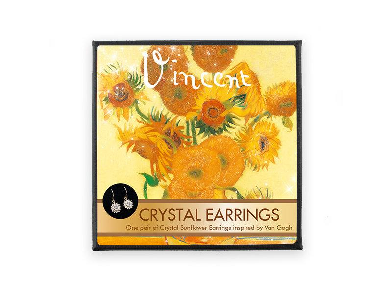 Boucles d'oreilles plaquées or avec pierres de cristal scintillantes, Van Gogh, Tournesols