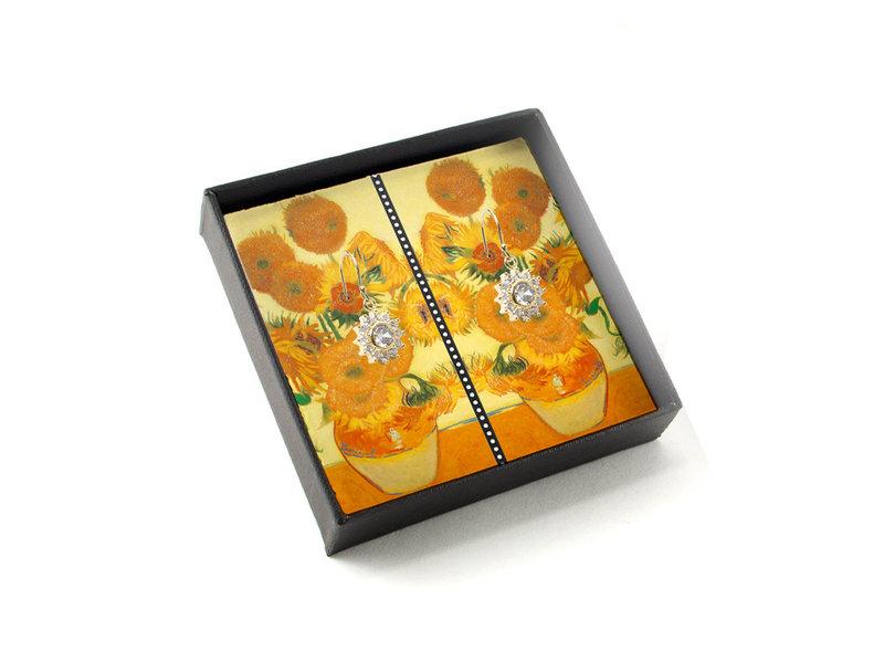 Vergoldete Ohrringe mit glitzernden Kristallsteinen, Van Gogh, Sonnenblumen