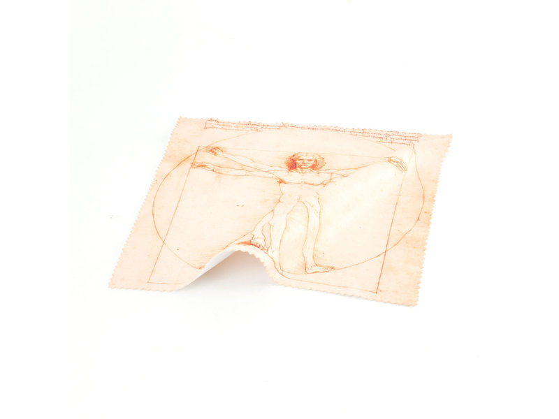Brillenputztuch, 15 x 15 cm, Da Vinci, vitruvianischer Mann