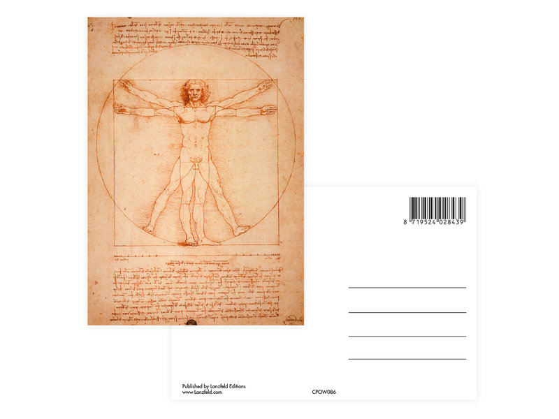 Ansichtkaart,  Da Vinci, Mens van Vitruvius