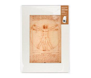 Matted print with reproduction, L,  Da Vinci, Vitruvian Man