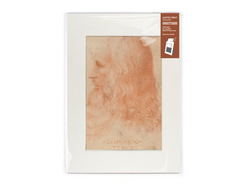 Matted print with reproduction, L,  Da Vinci, Self portrait