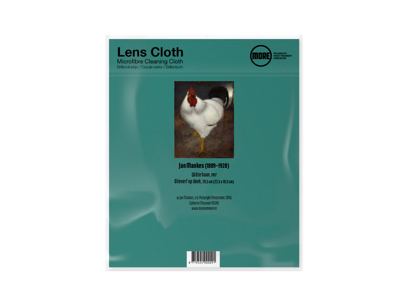 Lens cloth, 15 x 18 cm, White rooster, Mankes, Museum More