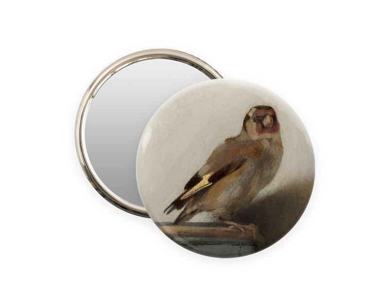 Espejo de bolsillo,  Ø 80 mm, El jilguero, Carel Fabritius