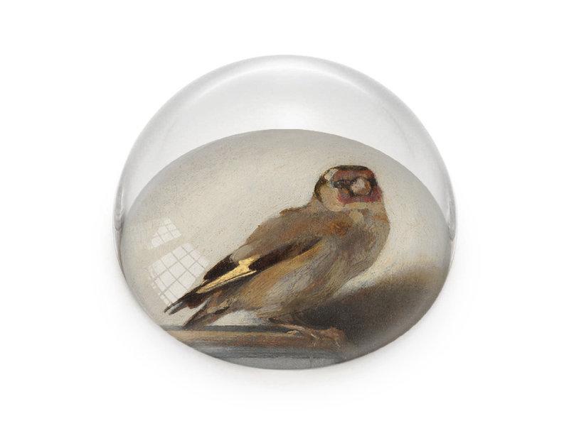 Glaskuppeln/Briefbeschwerer, Der Stieglitz, Carel Fabritius
