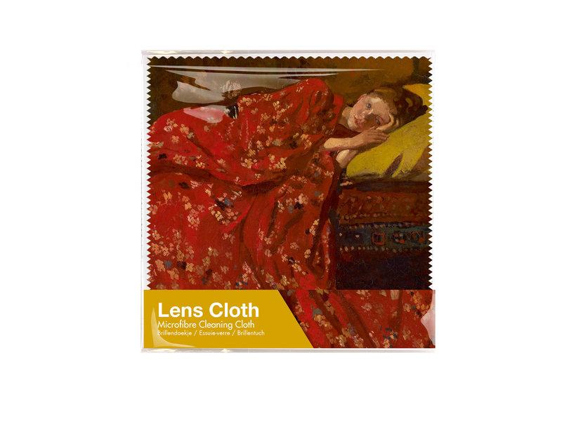 Brillenputztuch, 15 x 15 cm, Breitner, Mädchen im roten Kimono