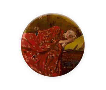 Espejo de bolsillo,  Ø 80 mm, Breitner, Chica en kimono rojo