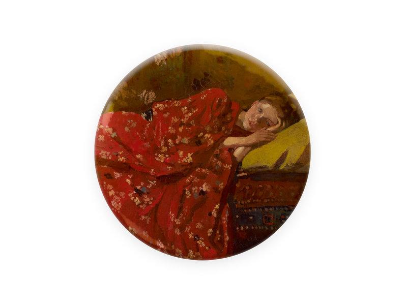 Miroir de poche,  Ø 80 mm, Breitner, Fille en kimono rouge
