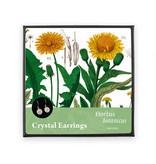 Vergulde oorbellen met glinsterende kristal steentjes, Paardebloem