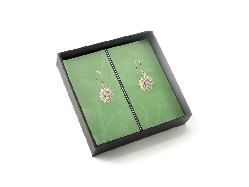 Gold plated earrings with glittering crystal stones, Dandelion
