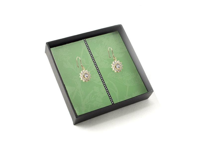 Vergoldete Ohrringe mit glitzernden Kristallsteinen, Löwenzahn