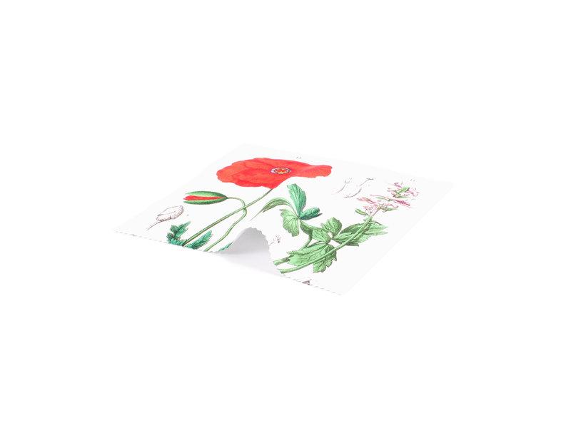 Brillenputztuch, 15 x 15 cm,  Mohn, Hortus Botanicus