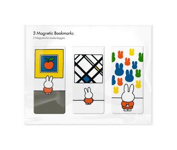 Lot de 3, marque-page magnétique, Miffy au musée