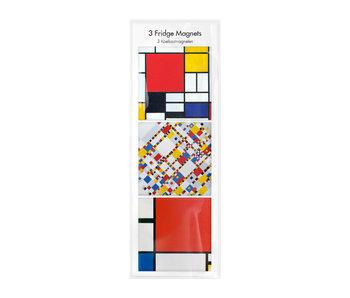 Koelkastmagneten, Set van 3 , Mondriaan