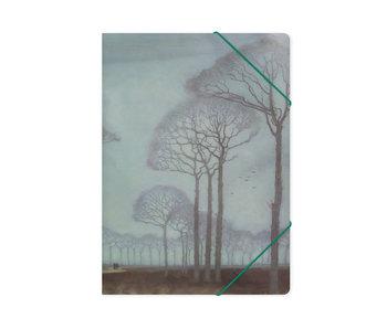 Chemise à dossier en papier avec fermeture élastique, A4, Mankes, rangée d'arbres