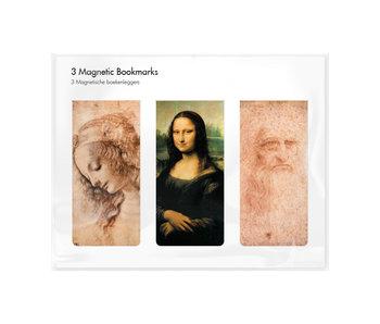 Juego de 3, marcapaginas magnético, Leonardo Da Vinci