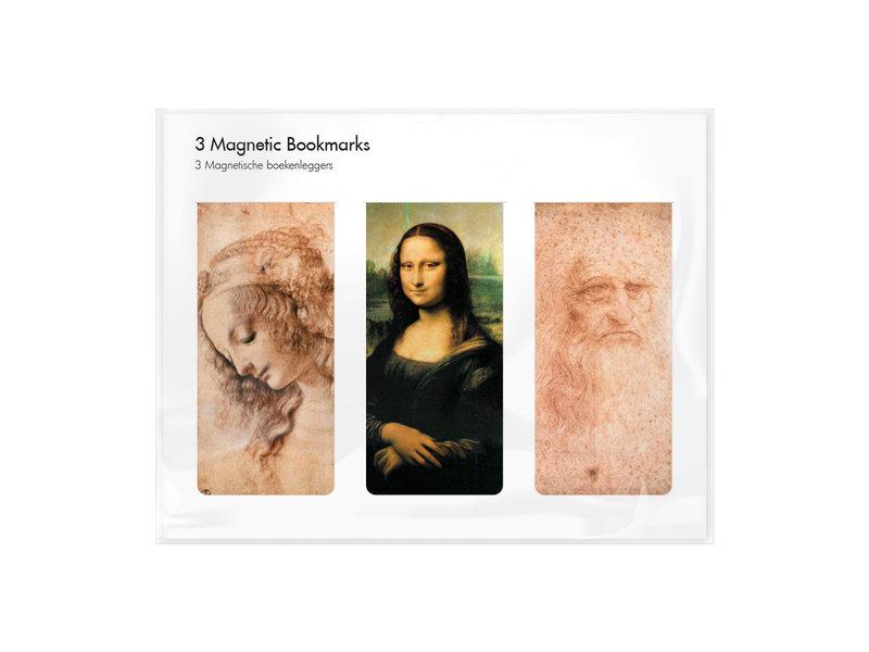 Set van 3, Magnetische boekenlegger , Leonardo Da Vinci