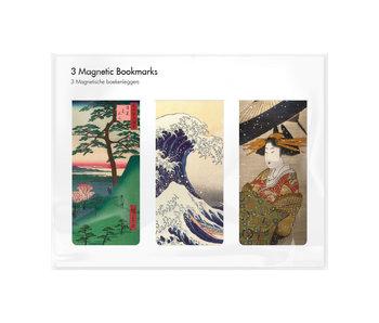 Juego de 3, marcapaginas magnético,  arte japonés